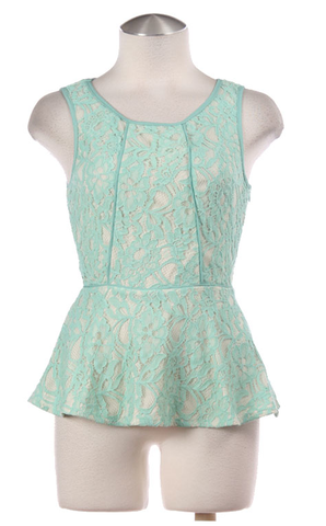 Lace,Peplum,Top