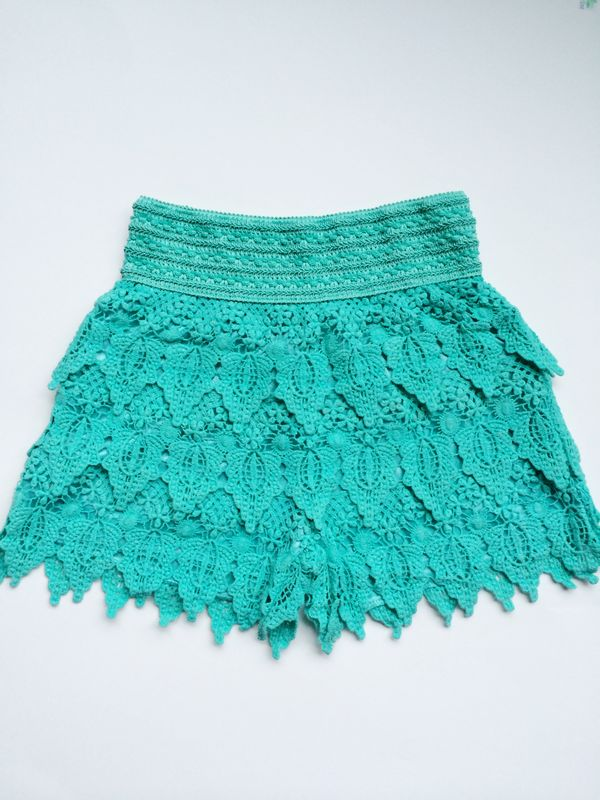 Crochet Shorts - Teal - product images