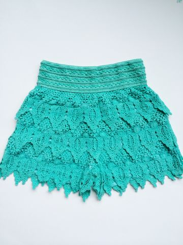 Crochet,Shorts,-,Teal
