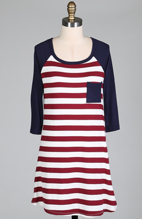 Striped,Tunic,Dress,(Burgundy)