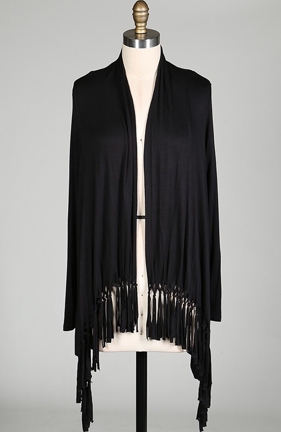 Fringe Cardigan (Black) - product images  of