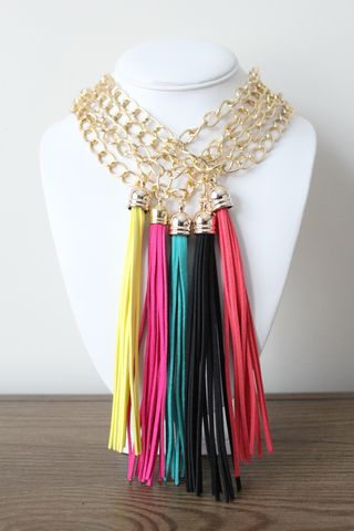 Leather,Tassel,Necklace,Tassel Necklace, Leather Tassels