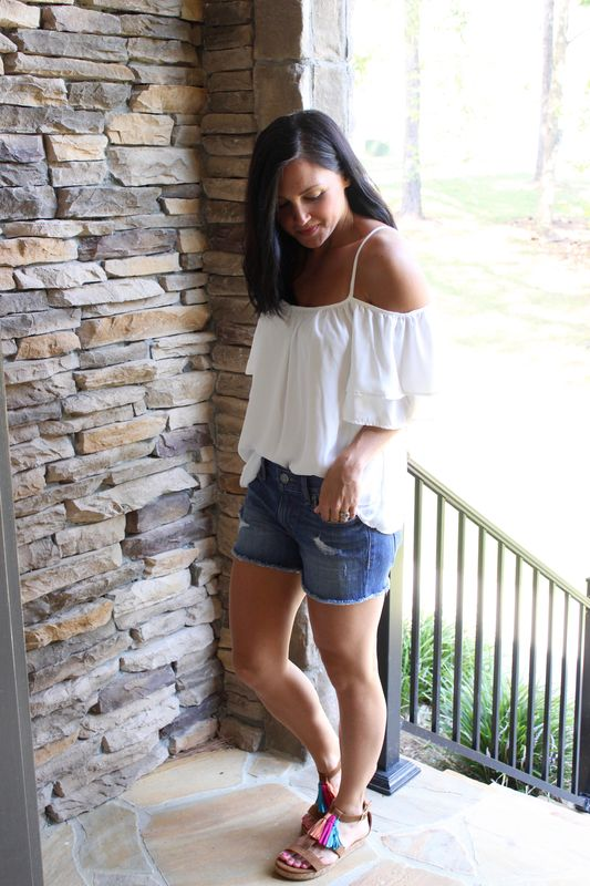 Cold Shoulder Top - White - product images  of