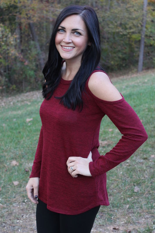Cold Shoulder Sweater - Burgundy - product images  of