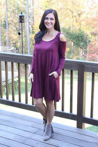 Cold,Shoulder,Swing,Dress,-,Wine