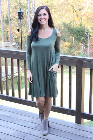 Cold,Shoulder,Swing,Dress,-,Green