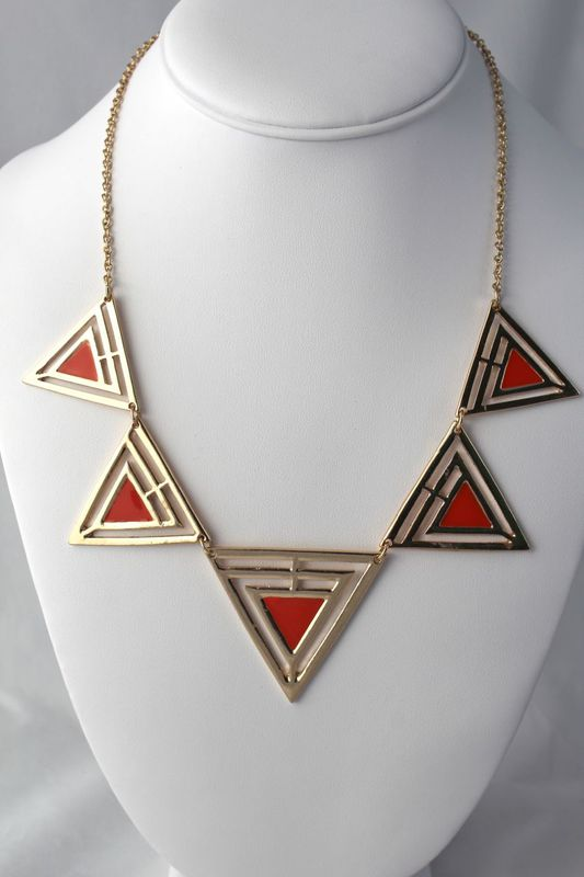 Painted Triangle Necklace - Orange (Was $16, now $10) - product images