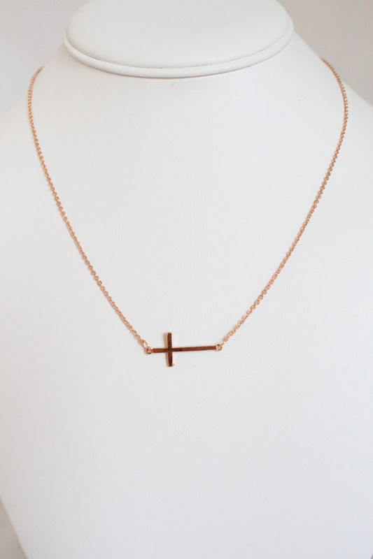 Sideways Cross Necklace - Rose Gold    - product images