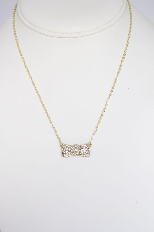 Crystal Bow Necklace - Gold  - product images
