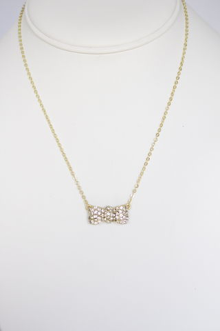 Crystal,Bow,Necklace,-,Gold,bow necklace, pave bow necklace, crystal bow necklace