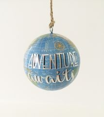 Hanging,Globe,Ornament,Adventure,Awaits,globe, calligraphy, adventure awaits, painted globe, world map, globe ornament, travel theme gift