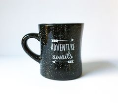 Diner,Mug,Adventure,Awaits,Speckled,diner mug, campfire mug, ceramic mug, stoneware mug, adventure awaits, travel gift
