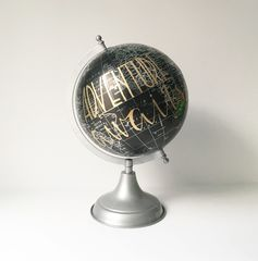 Hand,Lettered,Globe,Adventure,Awaits,Large,large globe, world globe, adventure awaits globe, black globe, calligraphy globe