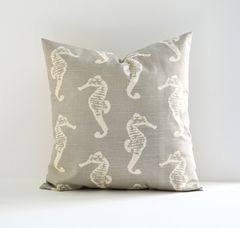Sea,Horse,Pillow,Cover,Pillow cover, nautical pillows, sea horse pillows, gray pillows, cottage decor, throw pillows, toss pillows, decorative pillow covers