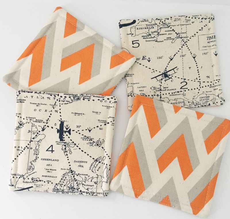 Fabric Coasters Reversible Maps - product images  of
