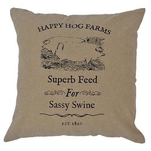Sassy Swine Burlap Pillow 10