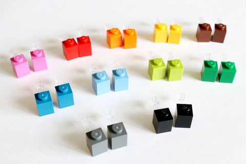 Stud,Earrings,made,of,LEGO,lego earring, stud earring