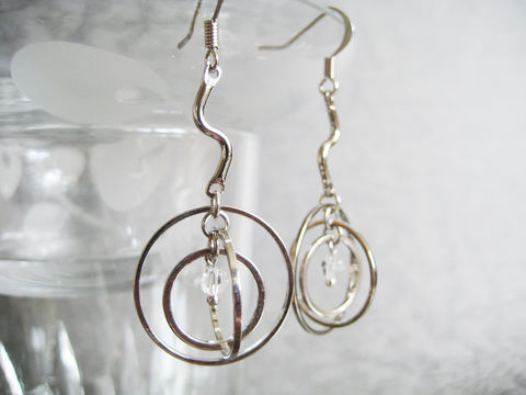 3,Hoop,Sphere,with,Crystal,Core,Earrings,hoops earrings, sphere earrings, silver dangle earring, circles earrings