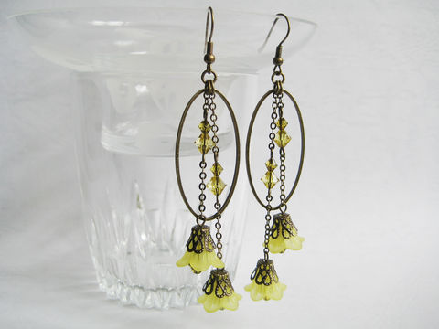 Yellow,Flowers,with,Bronze,Oval,Hoop,Earrings,long yellow earring, bronze earring, dangle earring, oval dangle earring, yellow flower earring, trumpet flower, autumn earring, long dangle earring, large oval earring, tassel earring