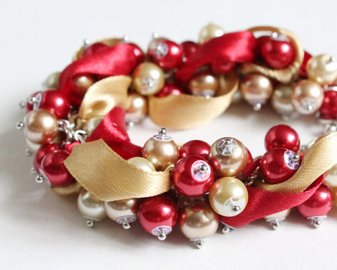 Red,and,Champagne,Gold,Cluster,Bracelet,Earrings,Set,(Made,to,Order),red gold bracelet, red gold cluster bracelet, red gold bridesmaid bracelet, gold red bracelet, gold red cluster bracelet, gold red bridesmaid bracelet, champagne gold bracelet, red champagne gold, bright red gold bracelet, red gold wedding