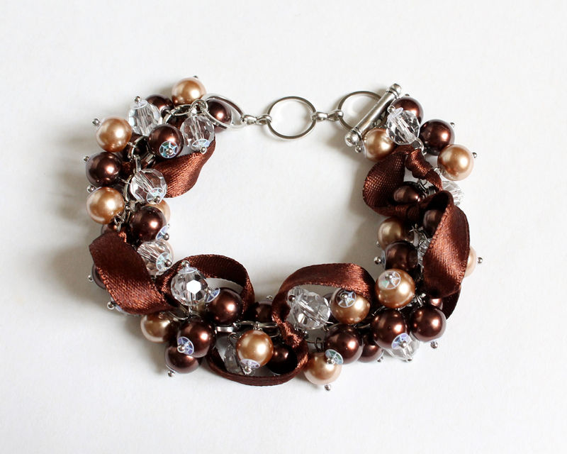 Chocolate Brown Cluster Bracelet and Earrings Set - product images  of