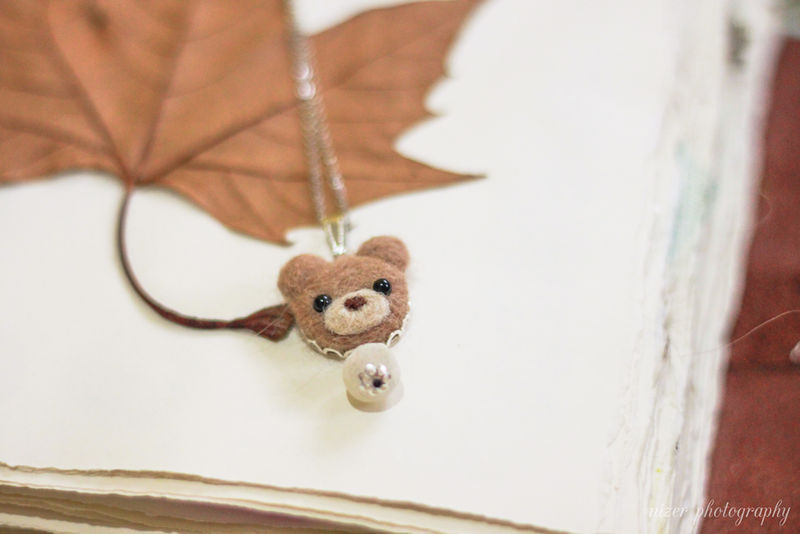 Needle Felted Wool Bear necklace or brooch or ring or shawl pin - product images  of