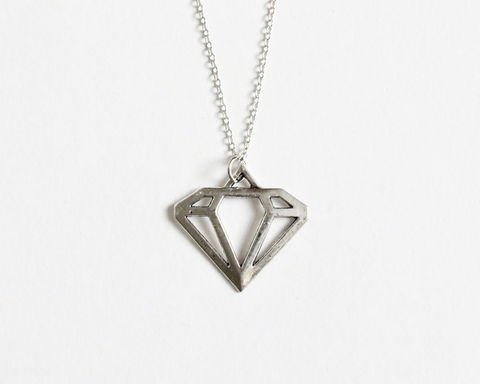 Silver,Diamond,Shape,Necklace,silver diamond necklace, diamond shape necklace, diamond outline necklace, silver diamond charm necklace, diamond pendant necklace