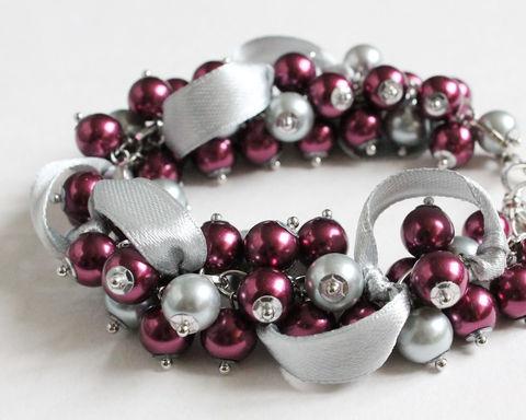 Red-Violet,and,Gray,Cluster,Bracelet,Earrings,Set,red violet cluster bracelet, red violet bracelet, purple gray bracelet, purple silver bracelet, eggplant bracelet, red-violet bridesmaid bracelet, plum bracelet, plum bridesmaid bracelet, eggplant bridesmaid bracelet, purple bridesmaid bracelet, purple si