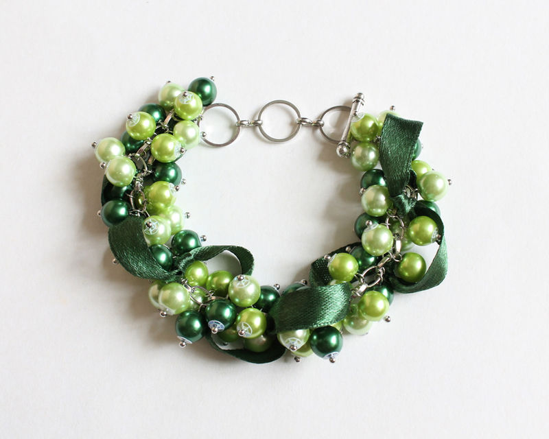 Green Bridesmaid Cluster Bracelet and Earrings Set - product images  of