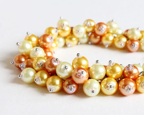 Orange,Yellow,Bracelet,and,Earrings,Set,(Made,to,Order),orange cluster bracelet, orange yellow bracelet, orange pearl bracelet, pumpkin orange, amber orange, yellow, orange bridesmaid, orange wedding, orange jewelry set, orange bracelet earrings, orange yellow bridesmaid jewelry