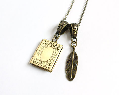 Diary,Locket,and,Quill,Necklace,book locket, book and quill, diary and quill, diary locket, writing necklace, book locket necklace, bronze locket necklace, tom riddle diary, horcrux necklace