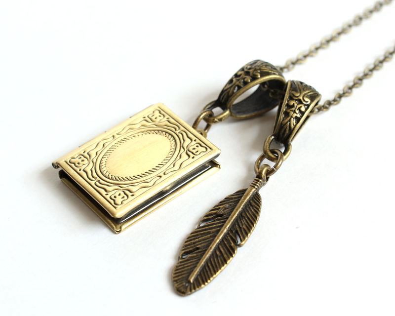 Diary Locket and Quill Necklace - product images  of