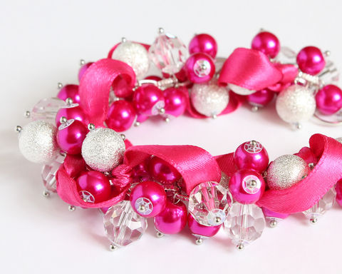 Magenta,Hot,Pink,Silver,Bracelet,and,Earrings,Set,magenta bracelet, magenta cluster bracelet, magenta bridesmaid bracelet, magenta jewelry set, hot pink bracelet, hot pink cluster bracelet, hot pink bridesmaid, bridesmaid bracelet, shocking pink bridesmaid, shocking pink cluster bracelet, shocking pink b
