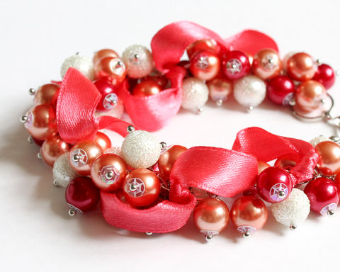 Coral,Theme,Cluster,Bracelet,and,Earrings,Set,bracelet earring, cluster bracelet, pearl bracelet, pearl cluster bracelet, coral theme bracelet, coral color bracelet, coral bracelet, coral jewelry set, coral bridesmaid jewelry, red white pearl cluster bracelet, coral pearl cluster bracelet, coral them