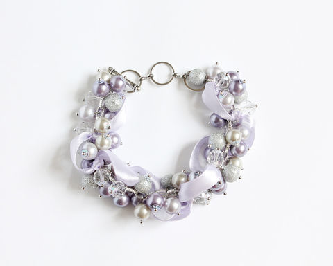 Lilac and Light Gray Cluster Bracelet and Earrings set - product images  of
