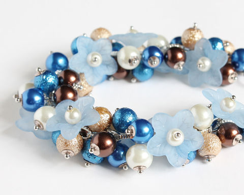 Blue,and,Brown,Cluster,Bracelet,Earrings,Set,blue brown bracelet, blue brown bridesmaid jewelry, brown blue bracelet, blue flower bracelet, blue bronze bracelet, light blue bracelet, bridesmaid bracelet and earring set