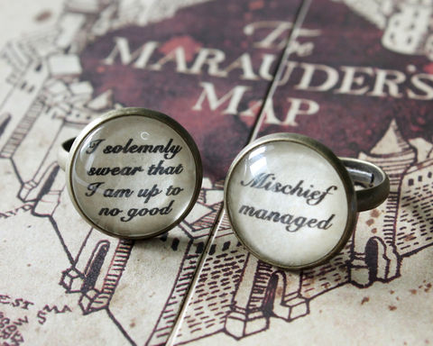 Solemnly,Swear,/,Mischief,Managed,Ring,mischief managed ring, solemnly swear, i solemnly swear that I am up to no good, marauder's map ring, hogwarts ring, harry potter ring, harry potter accessories, harry potter quotes