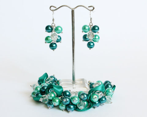 Teal Turquoise Cluster Bracelet and Earrings Set - product images  of