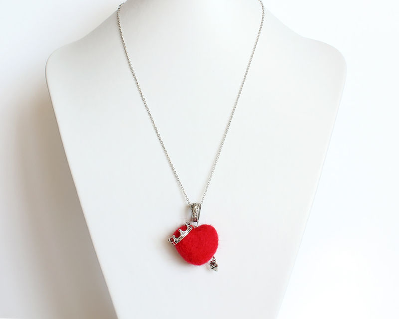 Needle Felted Crowned Red Heart Necklace - product images  of