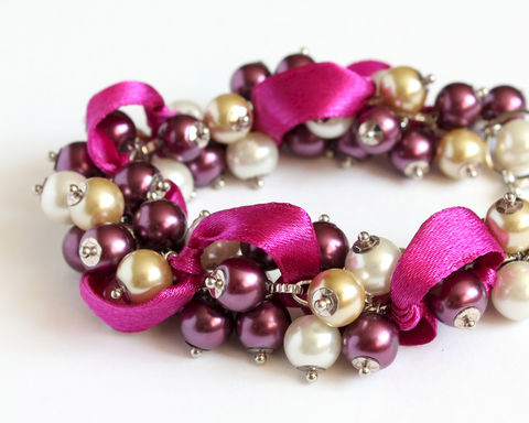 Red-Violet,and,Vanilla,Cluster,Bracelet,Earrings,Set,purple cluster bracelet, purple bracelet, purple pearl bracelet, red-violet bracelet, red-violet ribbon bracelet, purple bridesmaid, purple wedding, red-violet cluster bracelet, red-violet bridesmaid bracelet