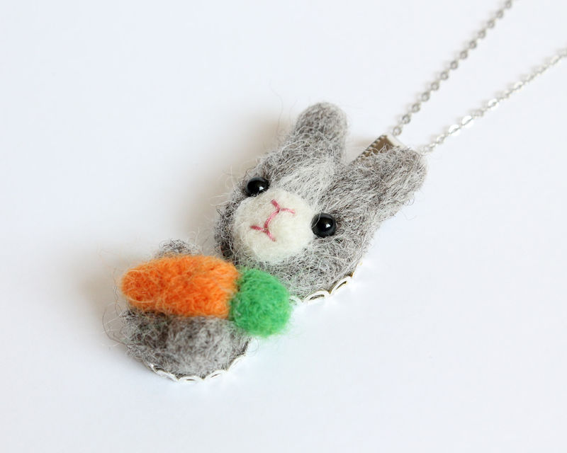 Needle Felted Wool Gray Rabbit necklace or brooch or ring or shawl pin - product images  of