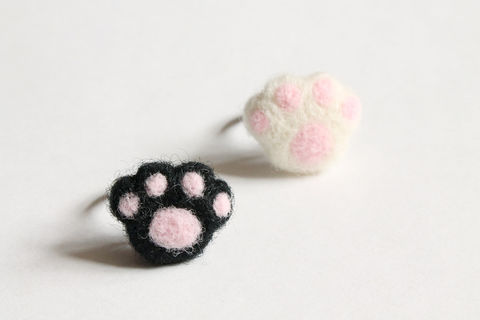 Wool,Felted,Paw,Ring,wool ring, paw ring, cat paw ring, dog paw ring, felted paw ring, needle felted paw ring