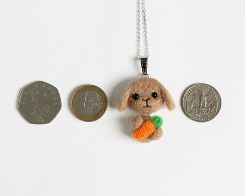 Needle Felted Brown Lop Bunny necklace or brooch or ring or shawl pin (Made to order) - product images  of