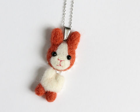 Needle,Felted,Ginger,Bunny,necklace,or,brooch,ring,shawl,pin,ginger bunny necklace, ginger rabbit necklace, ginger bunny brooch, red bunny necklace, red rabbit necklace, red bunny brooch, wool felted bunny, needle felted bunny, bunny necklace, bunny ring, bunny brooch