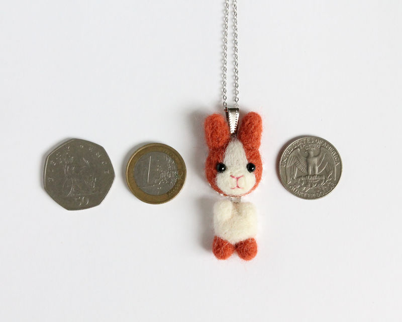 Needle Felted Ginger Bunny necklace or brooch or ring or shawl pin - product images  of