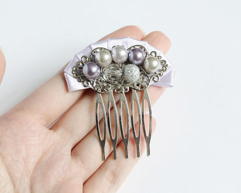 Lilac and Light Gray Bridesmaid Hair Comb - product images  of