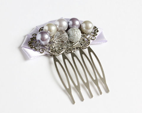 Lilac,and,Light,Gray,Bridesmaid,Hair,Comb,purple hair comb, lilac hair comb, purple hair accessory, lilac hair accessory, purple bridesmaid hair comb, purple pearl hair comb, purple pearl hair accessory