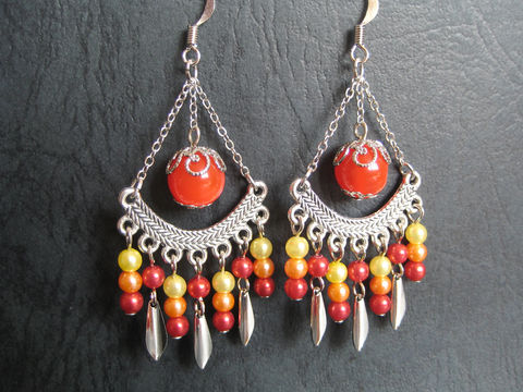 Indian,Style,Chandelier,Earrings,in,Red,Orange,and,Yellow,Theme,indian earrings, indian red earrings, red orange yellow earrings, red orange earrings, red silver earrings
