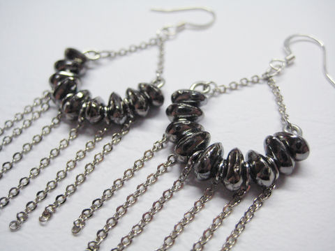 Dark,Silver,Stone,Shaped,Beads,with,Dangling,Chains,black earrings, black fan shape earrings, black beaded earrings, metal black earrings, black tassel earrings