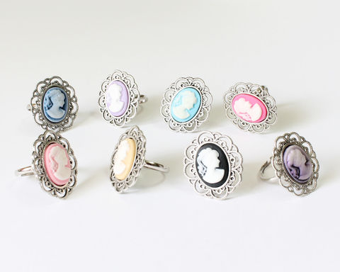Mini,Cameo,Ring,(various,colors),mini cameo ring, small cameo ring, cameo ring, cameo jewelry, pink cameo ring, blue cameo ring, purple cameo ring, bridesmaid cameo ring